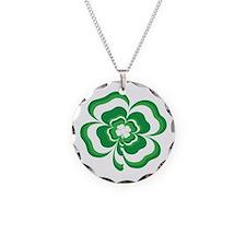 Stacked Shamrock Necklace Circle Charm