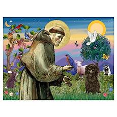 St Francis / Affenpinscher Wall Art Poster