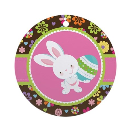 Easter Bunny Gift Rabbit Ornament (Round)