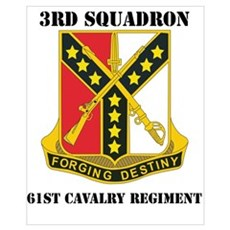 DUI - 3rd Sqdrn - 61st Cavalry Regt with Text Mini Framed Print
