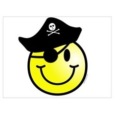 Smiley Pirate Wall Art Poster