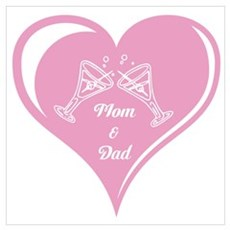 Mom and Dad Heart Wall Art Poster