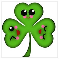 Cute Kawaii Art Shamrock Wall Art Canvas Art