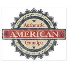 Authentic American Grandpa Wall Art Poster