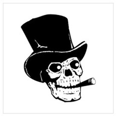 Top Hat Skull Wall Art Poster