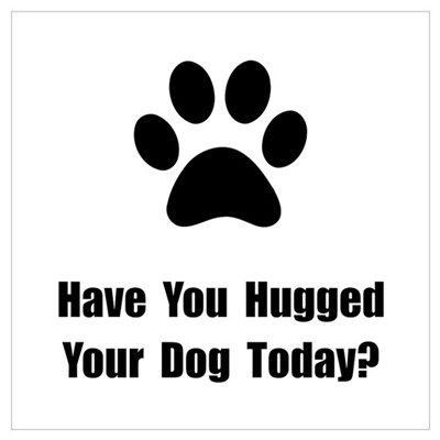 Hugged Dog Wall Art Poster