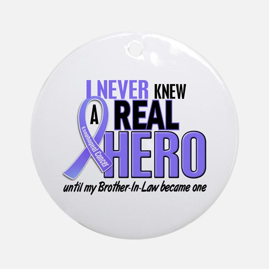 Never Knew a Hero Esophageal Cancer Ornament (Roun