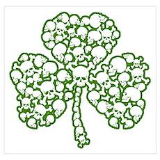 St. Patrick's Day Shamrock Skulls Wall Art Poster