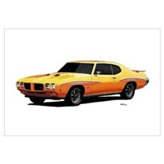 1970 GTO Judge Orbit Orange Wall Art Poster