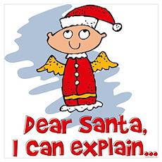 Dear Santa Bad Angel Wall Art Poster