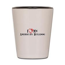 I Heart My American Bulldog Shot Glass