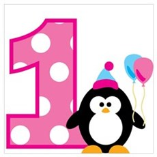 Girl Penguin 1st Birthday Wall Art Poster