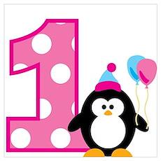 Girl Penguin 1st Birthday Wall Art Poster