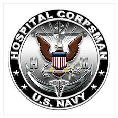 USN Hospital Corpsman Eagle H Wall Art Poster