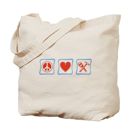 Peace, Love and Construction Tote Bag