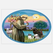 St Francis/3 dogs Wall Art