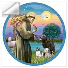 St Francis/3 dogs Wall Art Wall Decal