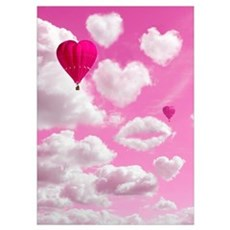 Heart Clouds and Balloon Wall Art Poster