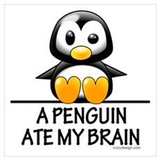 A Penguin Ate My Brain Wall Art Framed Print
