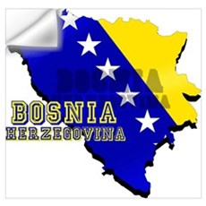 Flag Map of Bosnia Wall Art Wall Decal