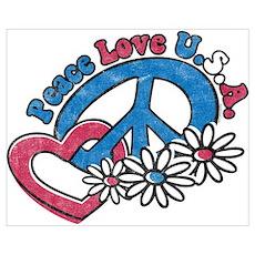Peace Love USA Wall Art Poster