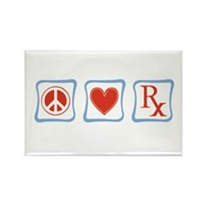 Peace, Love and Pharmacists Rectangle Magnet