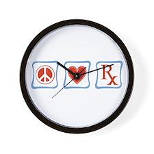 Peace, Love and Pharmacists Wall Clock