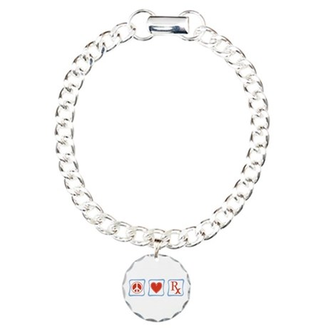 Peace, Love and Pharmacists Charm Bracelet, One Ch