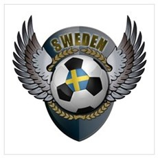 Swedish soccer ball with crest Wall Art Framed Print