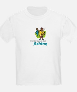 Never Too Young to Start Fishing Kids T-Shirt