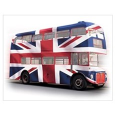 London Bus with Union Jack an Wall Art Poster