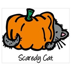 Pumpkin Scaredy Cat Wall Art Canvas Art