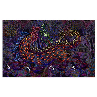 Fancy Neon Medieval Lion & Wo Wall Art Poster