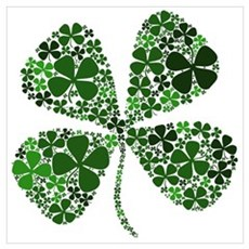 Lucky 4 Leaf Clover Irish Wall Art Poster