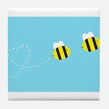 Bee In Love - Sky Background Tile Coaster