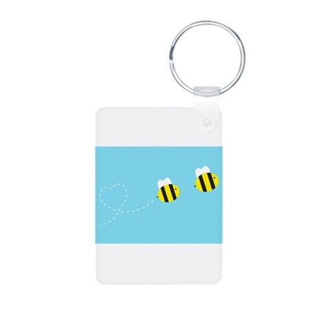 Bee In Love - Sky Background Aluminum Photo Keycha