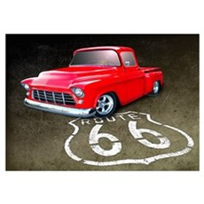 Route 66 Chevy Truck Wall Art Poster