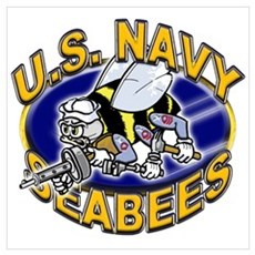 USN Navy Seabees Mad Bee Wall Art Poster