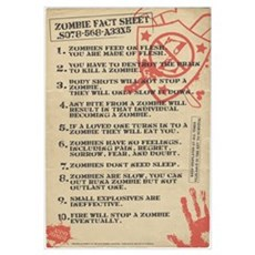 Zombie Fact Sheet Wall Art Framed Print