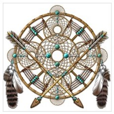 Turquoise Silver Dreamcatcher Wall Art Poster
