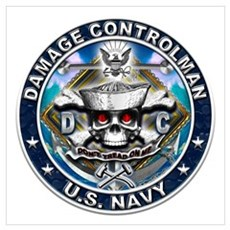 USN Damage Controlman Skull D Wall Art Poster