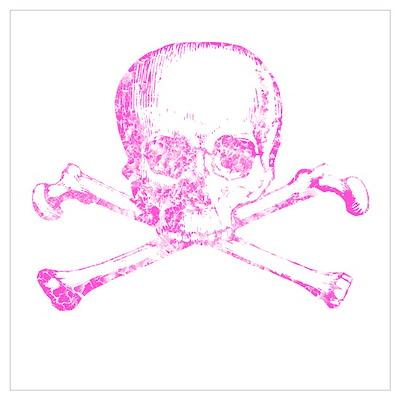 Pink Skull and Bones Wall Art Poster