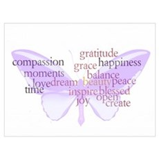 Peace and Gratitude Butterfly Wall Art Poster