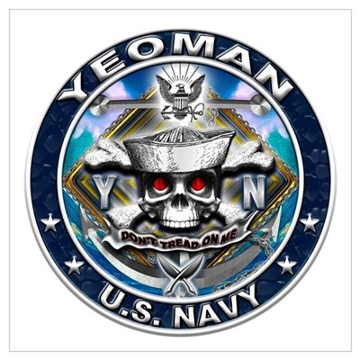 USN Yeoman Skull YN Blue Wall Art Poster