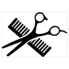 Comb & Scissors Wall Art Poster