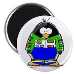 Race Car Penguin Magnet