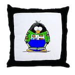 Race Car Penguin Throw Pillow