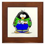 Race Car Penguin Framed Tile