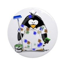 Painter Penguin Ornament (Round)