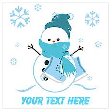 Merry Christmas Snowman Wall Art Poster